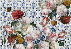 bloemen-behang Floral Wreath, Wall, Painting, Home Decor, Kitchen, Tents, Floral Crown, Decoration Home, Cooking