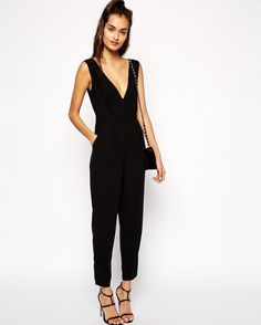 Shop ASOS Jumpsuit with Plunge Neck at ASOS.