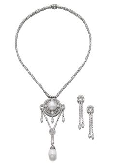 Diamond earrings, Cartier, and attractive natural pearl and diamond necklace
