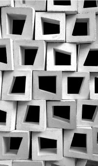 Stacked together, these concrete modules create interesting textures.