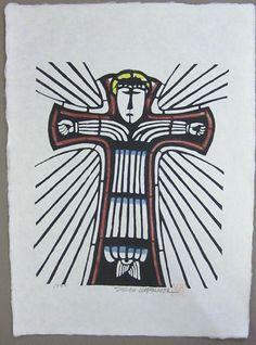 Japanese Art by the artist Sadao Watanabe | Christ on the Cross 1992