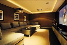 """""""View this Great Contemporary Home Theater with Wood veneer wallcovering & Hardwood floors. Discover & browse thousands of other home design ideas on Zillow Digs."""""""