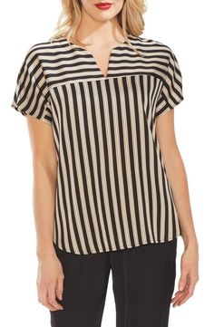 Great for Vince Camuto Split Neck Stripe Top Best Seller Womens fashion clothing from top store Dolman Top, Collar Blouse, Trendy Plus Size, Casual Tops, Skirt Fashion, Vince Camuto, Blouse Designs, Blouses For Women, Stripe Top