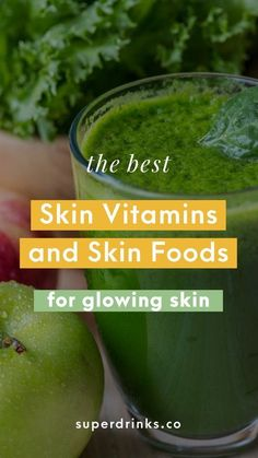 Top Skin Vitamins + Best Skin Foods for Clear and Glowing Skin. Curious about the best skin foods to eat? Want to understand which vitamins, minerals and nutrients your skin needs most to naturally shine? This guide covers both, so you can achieve your pe Vitamins For Healthy Skin, Healthy Smoothies, Healthy Fats, Healthy Drinks, Skin Vitamins, Detox Drinks, Best Foods For Skin, Foods For Clear Skin, Herbal Remedies