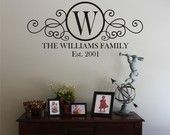 LARGE Swirly Circle Family Monogram Vinyl Wall Decal by back40life