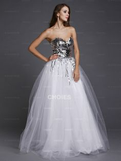 Sweetheart Beaded White Ball Gown Prom Dress