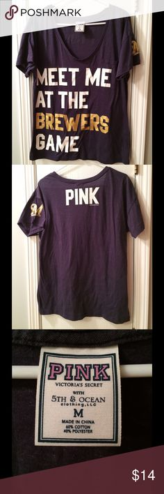 Milwaukee Brewers PINK T-shirt Cute Brewers T-shirt by PINK. Worn once. Excellent condition! Smoke free home. PINK Victoria's Secret Tops Tees - Short Sleeve