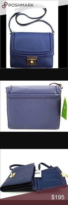 Kate Spade Small Merrick Handbag Kate Spade Small Merrick Messenger and Crossbody handbag.  New with tags.  Color is indigo blue.  Gorgeous gift for the holidays.  🎄Details: Bag Depth:2.25 Bag Length:8.75Material:Leather Strap Drop:23 Bag Height:7 kate spade Bags Crossbody Bags