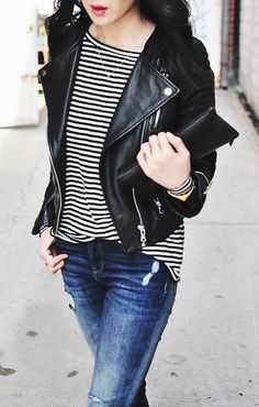 7 Things to Wear with a Moto Jacket (and 5 Things to Avoid) via @PureWow