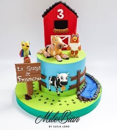 A long time ago I made the two cake models of La Granja de Zenon, which was . Farm Birthday, Birthday Cake, Birthday Parties, Cake Models, Baby Lamb, Long Time Ago, Elmo, Beautiful Cakes, First Birthdays