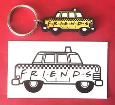 2pc vintage #Friends TV show souvenir #keychain & #magnet - Phoebe's yellow checker #taxi #cab #FriendsTVShow #yellowtaxi #checkercab