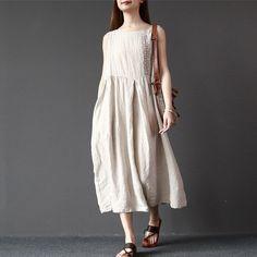 Women summer sleeveless pullover linen dress