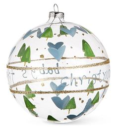 GISELA GRAHAM Baby's First Christmas blue bauble 10cm