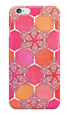 """Pink Spice Honeycomb - Doodle Hexagon Pattern "" iPhone Cases by micklyn 