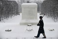 A Tomb Sentinel of the U. Infantry Regiment (The Old Guard), braves winter conditions while on his post, Jan. at the Tomb of the Unknown Soldier in Arlington National Cemetery, Va. Army photos by Spc. Cody W. Tomb Guard, Soldier Quotes, Catholic Online, Unknown Soldier, National Cemetery, American Soldiers, God Bless America, Vietnam War, Old Things