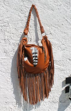 Leather Copper rusted feathers bag by SweetSmokebags
