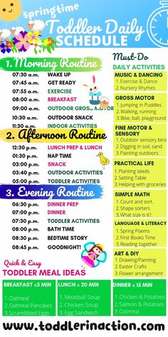 With out a doubt, these 7 daily toddler activities must be part of any toddler's daily schedule and toddler routine. Preschool Schedule, Baby Schedule, Toddler Schedule, Preschool Prep, Kids Summer Schedule, Daily Schedule Kids, Daily Routine Chart, Daily Schedules, Daily Routines