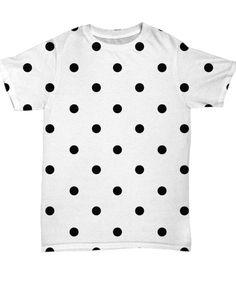 Black Polkadot All Over Shirt – Black Polk-a-dot Tshirt. Short sleeve t-shirt with ribbed round collar in the same fabric and side seams. #tshirts