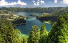 A view of Vista do Rei on the island of Sao Miguel. This is one of nine islands comprising the Archipelago of the Azores off the coast of Portugal.