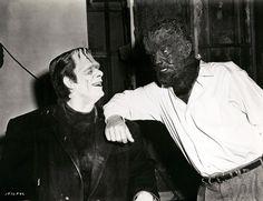 Glenn Strange and Lon Chaney, Jr., behind the scenes in Abbott and Costello Meet Frankenstein (1948).