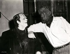 Glenn Strange and Lon Chaney, Jr., behind the scenes in Abbott and Costello Meet Frankenstein (1948).