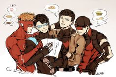 """""""Time for some takeouts:P #kidflash #Nightwing #RedHood #RedArrow"""""""