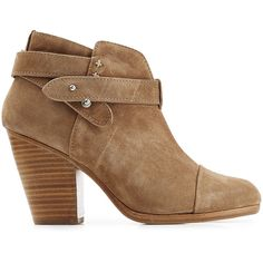 Rag & Bone Harrow Suede Ankle Boots ($415) ❤ liked on Polyvore featuring shoes, boots, ankle booties, suede ankle booties, short brown boots, brown boots, brown ankle booties and studded ankle boots