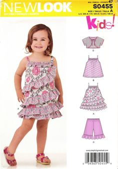 Toddlers& pattern includes dress featuring contrast ruffles, top, short with ruffle, and short sleeve bolero.New Look sewing pattern. New Look Patterns, Sewing Patterns For Kids, Simplicity Sewing Patterns, Sewing For Kids, Clothing Patterns, Dress Patterns, Baby Girl Dresses, Little Dresses, Baby Dress