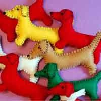 dachshund felt ornaments
