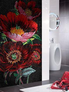red flower mosaic mural for bathroom