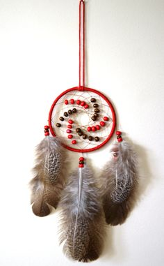 Red Dream Catcher With Peacock Back by DreamySummerNights on Etsy, $5.00