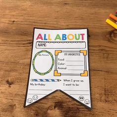 All About Me Flag Bunting Back to School free printables for you to start the year! Kindergarten Classroom Decor, Preschool Curriculum, Preschool Lessons, Classroom Activities, All About Me Activities For Preschoolers, Kindergarten Prep, Math Lessons, Homeschool, First Day Of School Activities