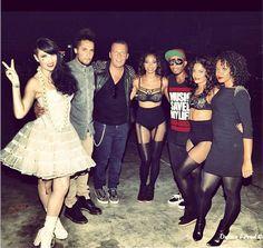 Tara McDonald, Jean Roch and dancers backstage