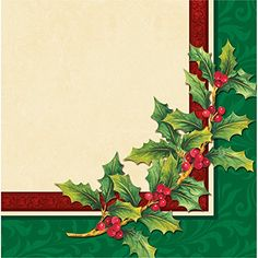 Creative Converting Festive Greenery Lunch Napkins RedGreen *** Details can be found by clicking on the image. (This is an affiliate link) Winter Holidays, Christmas Holidays, Christmas Paper Napkins, Love Coupons, Beverage Napkins, Party Tableware, Red Berries, Cocktail Drinks, Holiday Parties