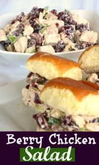 Chicken Berry Salad sandwiches can be eaten on a roll or plain.  Perfect for a shower or party!