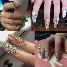 Women-Fashion-Bowknot-Nail-Ring-Charm-Crown-Flower-Crystal-Finger-Nail-Art-Rings