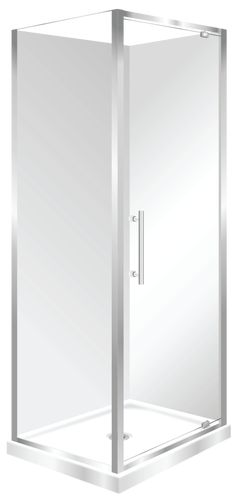 Features Low profile tray with 40mm upstand Tray is Centre Waste as standard but also available in Corner Waste. 1950mm high glass. 6mm safety glass Safety Standard Pivot Door Modern 1-piece design right hand model. One piece acrylic lining.  Available in Silva and White