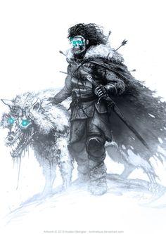 White Walker Jon Snow and Ghost