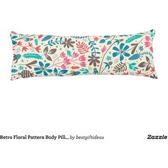 Retro Floral Pattern Body Pillow (160 BGN) ❤ liked on Polyvore featuring home, bed & bath, bedding and bed pillows