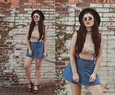 Indiefoxx - Dazey La Tank, Stinnys Choker, Forever21 Skirt, Edgeiwear Sunnies, Urbanoutfitter Hat, Ippo Clogs - Flower Pop and Rock&Roll