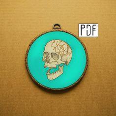 Rose Skull Hand Embroidery Pattern (PDF modern embroidery pattern) (peony - skeleton - flower) by ALIFERA on Etsy