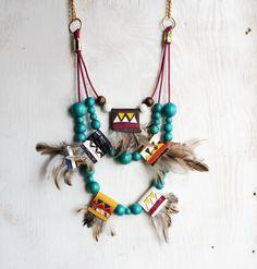 Maxi feather fringe necklace