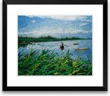 Art of Silk ~ Hand Designed Silk Art, Silk Embroidery - Swaying Fishboat Among Reed Marshes $69.99
