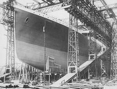 Construction in Belfast, Ireland at Harland and Wolff shipyards