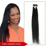 20 Inch Straight 100pcs 1g/s Grade AAA Nail Tip Remy Hair Extensions 100g (#1 Jet Black)