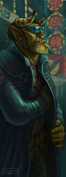 shadowrun; male; troll; enforder; glasses