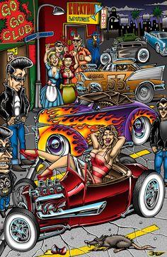 car advertisements car ads from Hemmings Classic Car car ads Posted in Hemmings Classic Car car ads kustom kulture a. Motorcycle Art, Bike Art, Desenho New School, Ed Roth Art, Graffiti Kunst, Arte Lowrider, Cartoons Magazine, David Mann Art, Cool Car Drawings