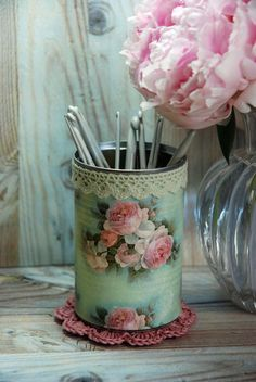 Vintage Cottage Roses Shabby Chic Style Tin Desk от AuntieShrews