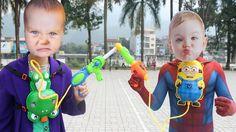 CRYING BABIES Superheroes Gun Battle! w/Spiderman Baby vs Joker Baby , M...