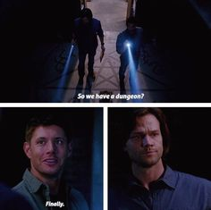 "[SET OF GIFS] 8x22 Clip Show ""So we have a dungeon? Finally!"" - Supernatural Funny - Dean Winchester, Sam Winchester"